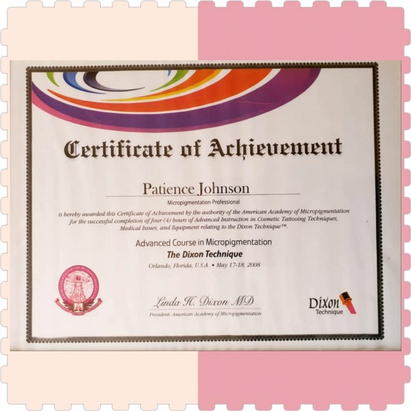 Certificate of achievement American Association of Micro-pigmentation