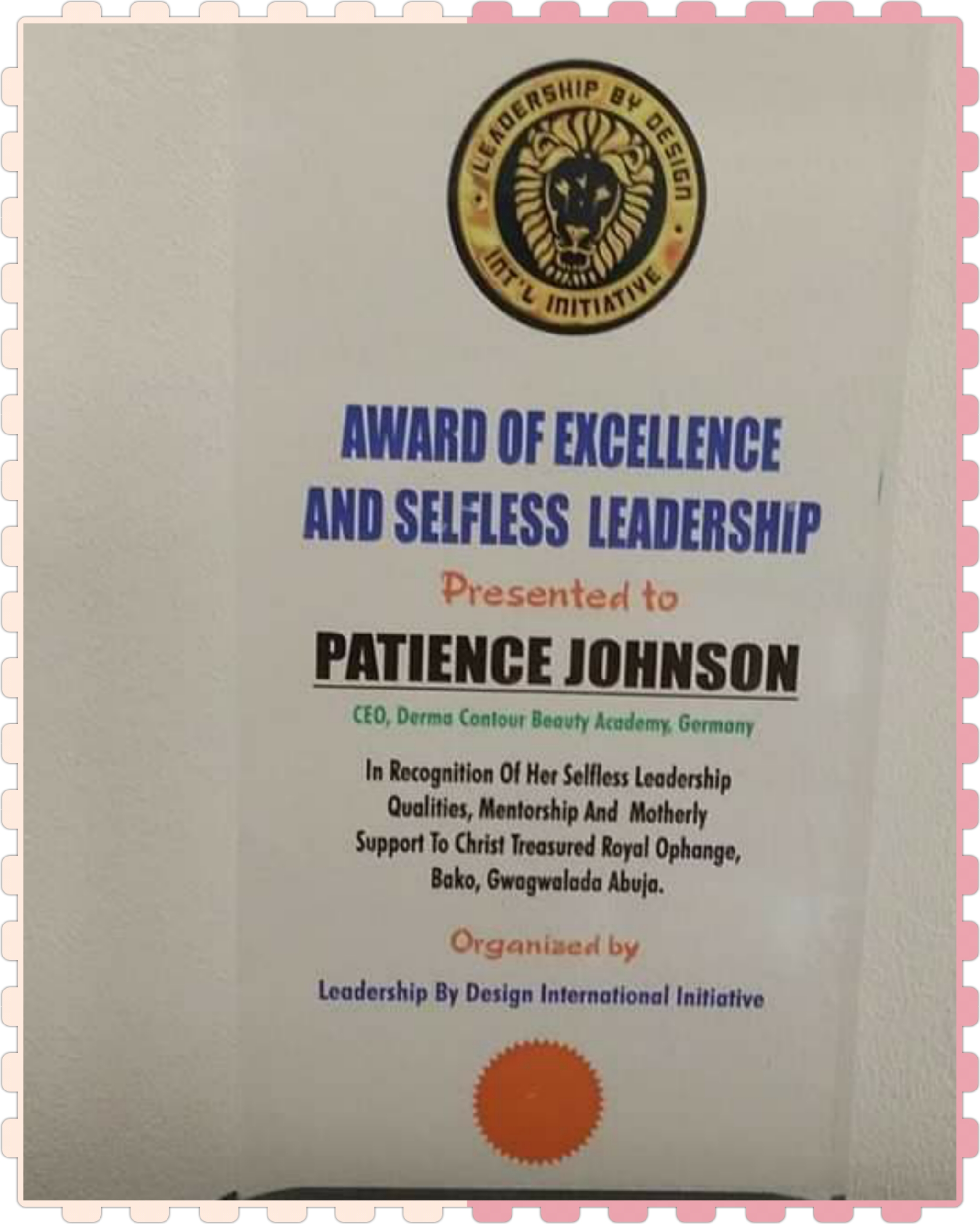 Excellence and Selfless leadership Award