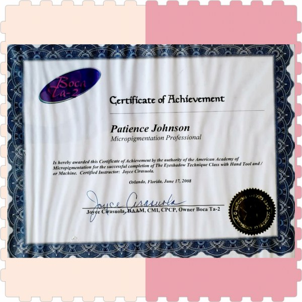 Patience Johnson certificate of Achievement
