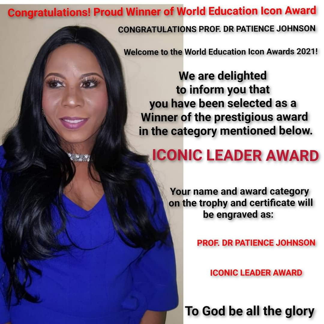 Dr. Patience Johnson nominated for world education ICONIC LEADER Award